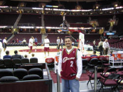 Hans Steiniger at courtside for Quicken Loans Arena