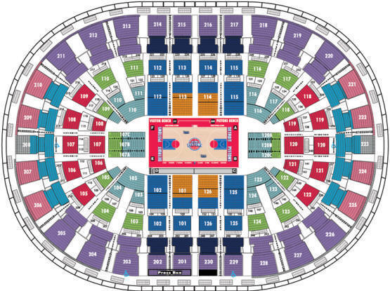 Palace of Auburn Hills Seating Chart